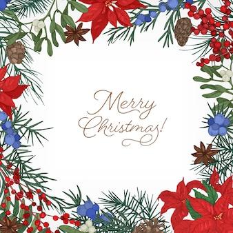 Marco cuadrado o borde hecho de ramas y conos de árboles coníferos, hojas de poinsettia, bayas de enebro y muérdago dibujadas a mano en el espacio en blanco y deseo de feliz navidad
