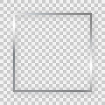 Marco cuadrado plateado brillante con efectos brillantes y sombras sobre fondo transparente. ilustración vectorial