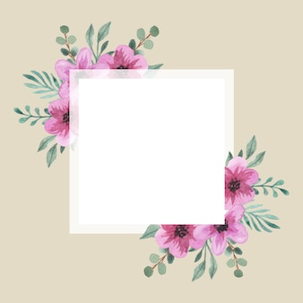 Marco cuadrado de ramo de flores rosas acuarela