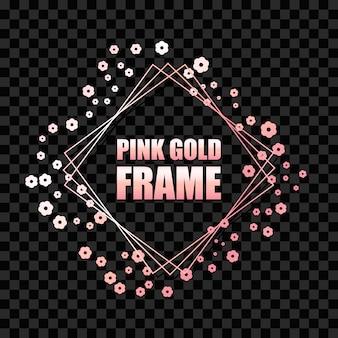 Marco cuadrado realista metálico dorado rosa
