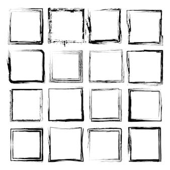 Marco cuadrado con textura grunge vector set