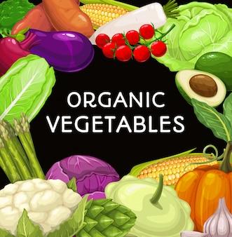 Marco cuadrado de verduras de granja