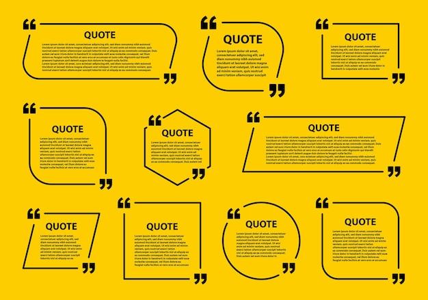 Marco de cuadro de cotización, plantillas de burbujas de discurso y marcos de cotización de comunicación