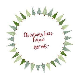 Marco de círculo de árboles de navidad