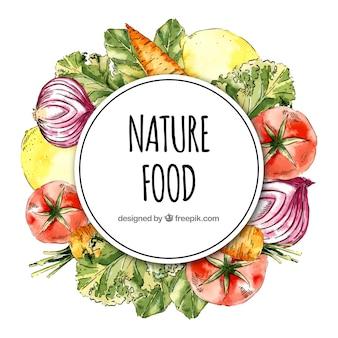 Marco de comida con alimentos diferentes