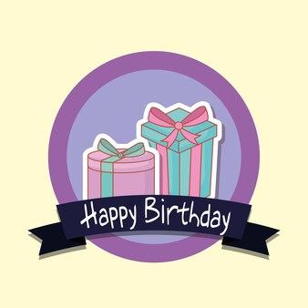 Marco de feliz cumpleaños con caja de regalo