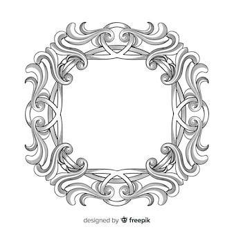 Marco de flor ornamental dibujado a mano