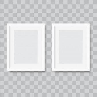 Marco de foto blanco horizontal realista