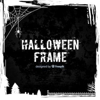 Marco de halloween espeluznante con diseño plano
