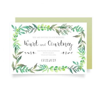Marco de hierba salvaje para invitación de boda