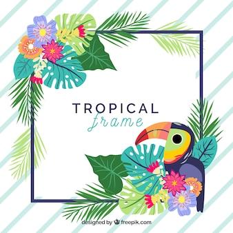 Marco de hojas con plantas tropicales y pájaro