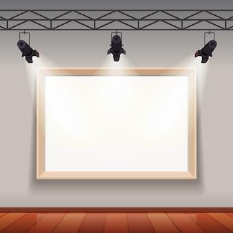 Marco de imagen vacío en sala de museo de artes sala