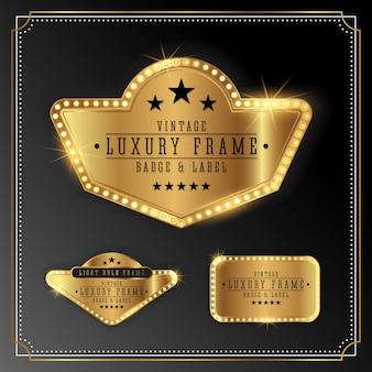 Marco de lujo de oro con lámpara de luz de bulbo. diseño de la bandera de oro del brillo