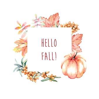 Marco de otoño acuarela con calabaza y hojas