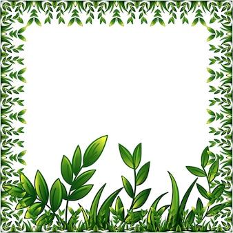 Marco de plantas verdes con adornos decorativos