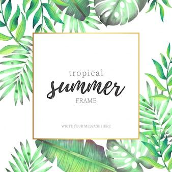 Marco de verano tropical con hojas de acuarela