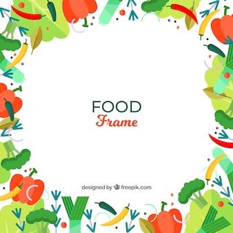 Marco de verduras sanas con diseño plano
