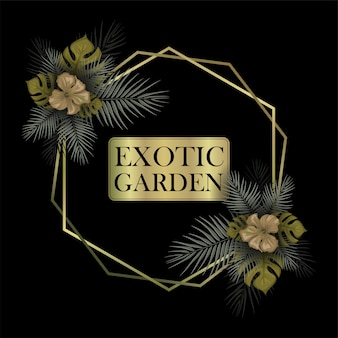 Marco de decoración floral exótico con plantilla de texto