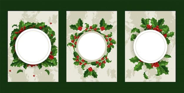 Marco de decoración tradicional de navidad de bayas de acebo en vacaciones de invierno de navidad