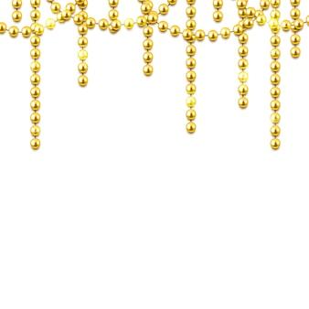 Marco decorativo con brillantes cuentas de oro realistas.