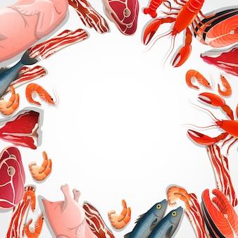 Marco decorativo de carne y mariscos