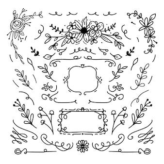 Marco decorativo floral y diseño de adornos.