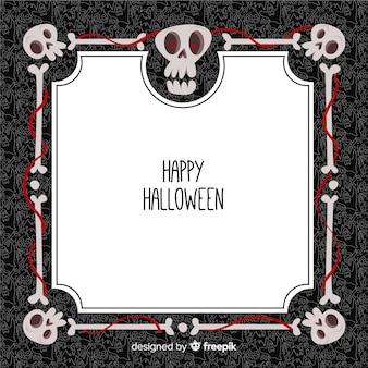 Marco decorativo de halloween con diseño plano