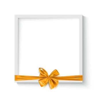 Marco decorativo con lazo de cinta dorada realista, plantilla de fondo de vacaciones, ilustración vectorial