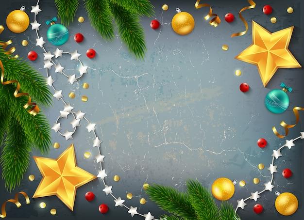 Marco decorativo de navidad con estrellas doradas