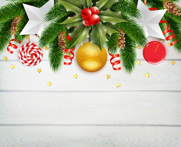 Marco decorativo de navidad con muérdago