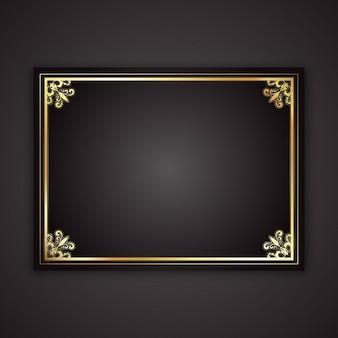 Marco decorativo del oro sobre un fondo negro degradado