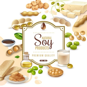 Marco decorativo con productos alimenticios de soja en blanco beige