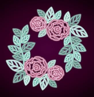Marco decorativo rosas florales de neón
