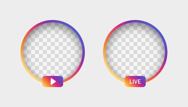 Marco degradado de historias de instagram con sombra para el icono de redes sociales avatar transmisión de video en vivo