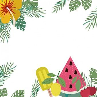 Marco de deliciosas frutas tropicales.