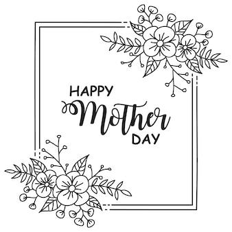 Marco día de la madre flor dibujado a mano plantillas
