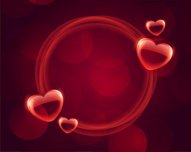 Marco del día de san valentín de corazones de burbuja con espacio de texto