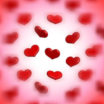 Marco del día de san valentín con corazones dispersos borrosos