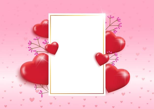 Marco del día de san valentín con hermosos corazones globos.