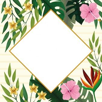 Marco de diamantes de verano con flores tropicales.