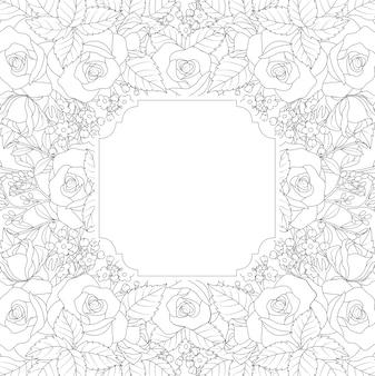 Marco dibujado a mano floral sobre fondo blanco