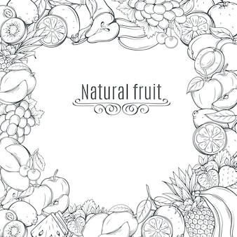 Marco dibujado a mano frutas