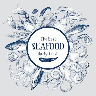 Marco dibujado a mano con mariscos y pescados.