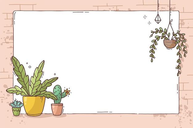 Marco dibujado a mano con plantas en macetas