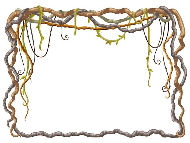 Marco de dibujos animados de ramas de liana