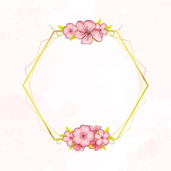 Marco de diseño dorado botánico geométrico