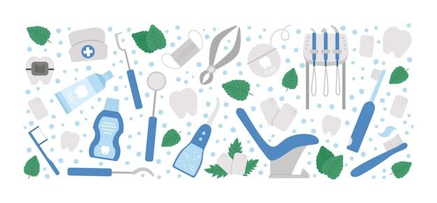 Marco de diseño horizontal de vector con herramientas para el cuidado de los dientes. plantilla de tarjeta con elementos para limpiar los dientes. banner de equipos de odontología aislado sobre fondo blanco. conjunto de iconos de dentista