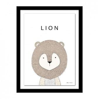 Marco con diseño de león