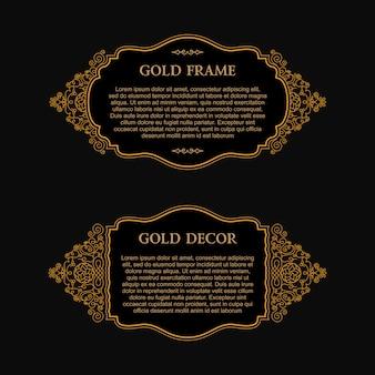 Marco de diseño de oro oriental para tarjeta