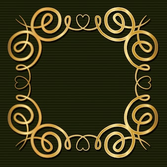 Marco dorado art deco con adorno sobre fondo verde